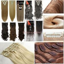 100% Real Natural Double Weft Full Head Clip in Hair Extensions Straight Wavy F3