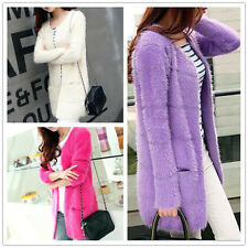Women Fashion Long-Sleeve Knit Cardigan Coat Loose Mohair Sweater Long Outwear
