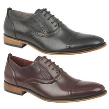 Mens New Oxblood Black Lace Up Smart Capped Oxford Formal Suit Brogues 6 - 12