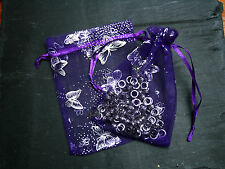 Premium Purple Butterfly Organza Gift Bags/Wedding Favours Jewellery Pouches