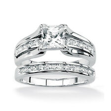Ladis White Gold Plated Princess Cut AAA CZ Wedding Ring Set Size  5-10