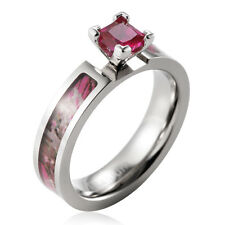Rose Pink tree camo titanium wedding ring prong setting princess cz stone