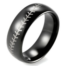 8mm Black Dome Tungsten Ring Baseball Stitch design ring with white style laser