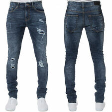Mens ENZO Super Skinny Stretch Ripped Blue Acid Wash Jeans Casual Pants 28-42