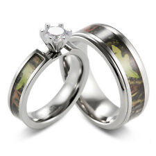 Green Mossy Tree Camo Ring CZ prong setting engagement wedding ring set(2pcs)