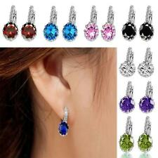 1Pair Elegant Ladies Bride Crystal Rhinestone Ear Stud Earrings Ear Clip Jewelry