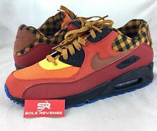 NEW Men's Nike Air Max 90 Premium Running Shoes Red/Brown/Red/Gold 700155-600 f1