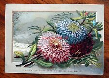 BEAUTIFUL LARGE VICTORIAN CHRISTMAS CARD BRIGHT EMBOSSED CHRYSANTHEMUMS