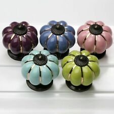 Antique Pumpkin Ceramic Cupboard Knobs Cabinet Dresser Drawer Pull Handle Knobs