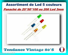 *** LOT DE 25/50/100 OU 200 LED 3MM DIFFUSANTES / 5 COULEURS ASSORTIES ***