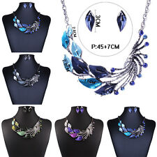 New Fashion Women Oil Drop Peacock Statement Bib Pendant Chunky Necklace Jewelry