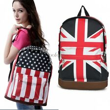 Girl Boy Campus Backpack School Book Shoulder Bag Flag Canvas Backbag CO99