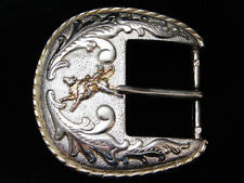 PI07108 VINTAGE 1970s **BULL RIDER** RODEO WESTERN & COWBOY BELT BUCKLE