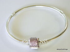 AUTHENTIC PANDORA SIGNATURE CLASP BRACELET #590723CZS FANCY PINK 23CM  BOX INCL