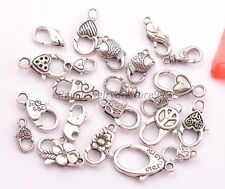 Tibetan Silver Charms Heart Lobster Clasps & Hooks DIY Jewellery Making 10pcs