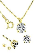 Yellow Gold Plated Sterling Silver Round Shape cubic zirconia Set