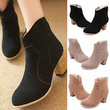 Women Ankle Boot Zipper Suede Short Knight Boot Chunky Thick heel Rider Shoes