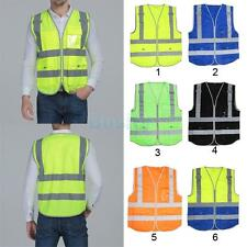 Hi-Vis Safety Vest w/Zipper Reflective Jacket Security Waistcoat 4 Pockets Coat