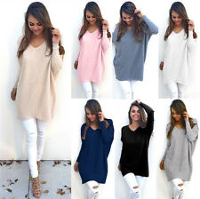 Fashion Womens Loose Long Sleeve Sweater Sweatshirt Jumper Pullover Blouse Dress