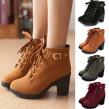 Women Lace Up Ankle Boots High Heel Buckle Zip Platform Soft Leather Chunky Shoe