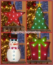 Holiday Christmas Winter Marquee Mantel Table Metal Fun Star Gift Snowmen Tree