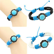 1PCS Chic Cord Bracelets Wristbands Braided Turquoise Charm Women Leather Bangle