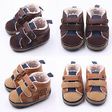 Baby Kids Canvas Winter Crib Shoes velvet Slip-On Soft Sole Anti-slip Prewalkers