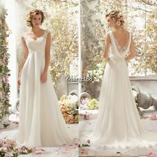 Lady Backless Beaded Lace Patchwork Chiffon Wedding Party Bridal Maxi Dress UTAR