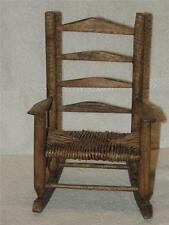 Wood Wooden Baby Doll Ladder Back Woven Rush Seat Rocking Chair Furniture