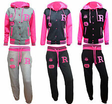 New Ladies Baseball Hoodie Neon R Fox Jogging Jumpsuit Tracksuit