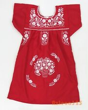 Mexican Girls Puebla Dress in Red with Solid White Embroidery