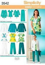 Simplicity 3542 Pattern EASY Sew Scrub Top Pant Jacket Misses 10-18 Plus 20W-28W