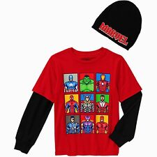 MARVEL SUPER HEROES Long-Sleeve Tee Shirt & Beanie Set NWT Boys Sizes 4-12 $20