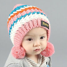 Rainbow Striped Double Ball Wool Hat Warm Hat Beanie Cap For Baby Girl Boy New