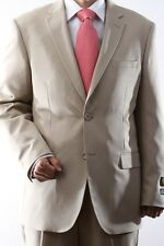 MENS TWO BUTTON SUPERIOR 100 BEIGE DRESS SUIT, SML-60212S-60223-BEI