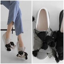 Oversize Bow Linen Jersey with  Pom Pom Fringe Slip-Ons Loafers Sneakers Shoes