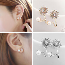 Fashion Jewelry Rhinestone Ear Stud Fashion Jewelry Elegant Pearl Earring 1Pair