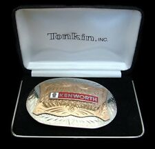 PI04196 *NOS* VINTAGE 1980s ***KENWORTH*** TROPHY STYLE GERMAN SILVER BUCKLE