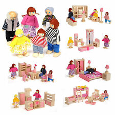 Wooden Furniture Dolls House Family Miniature 6 Room Kids Children Dolls Sets
