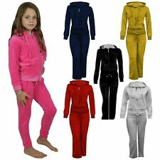 Girls Hooded Velour Pocket Zip  Jogging Bottom Suit Tracksuit