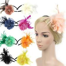 Wedding Party Feather Fascinator Flower Veil Hat Hairband