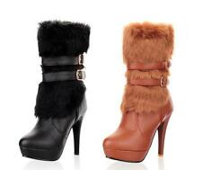 Sexy Furry Strappy High Heels Platform Womens Mid-calf Boots Warm Booties Shoes
