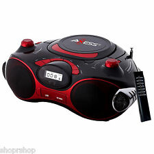 Axess Red Portable Boombox MP3 CD Player with Text Display AM-FM Stereo