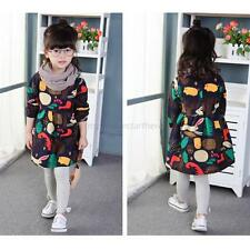 Baby Kids Girls Spring Autumn Long Sleeve Dress Toddler Cute Cartoon Shirt Dress