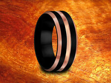 Wedding Band Matching Set ,Black & Rose Gold Tungsten Rings,8MM,6MM,His,Hers.