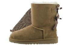 UGG Kids Bailey Bow 3280K-CHE Chestnut Sheepskin Suede Winter Snow Boots Youth