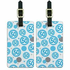 Luggage Suitcase Carry-On ID Tags Set of 2 Birthday Party Blue Dots