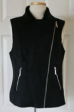 $300 NWT Womens Michael Kors Black Faux Seal Fur Suede Del 3 Vest Asymmetric Zip