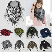 Women Lady Plaids Check Military Scarf Tassel Warm Stole Shawl Wrap Soft Scarves