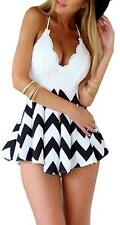 White Black Lace Spaghetti Strap V Neck Chevron Stripe Backless Short Romper NWT